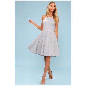 Lulu's • irresistible charm gray midi dress